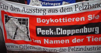 Peek und Cloppenburg - Ziel der Offensive gegen die Pelzindustrie