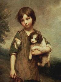 Thomas Gainsborough: Dorfmädchen mit Hund und Henkelkrug. 1785, Öl auf Leinwand. 174 × 125 cm. Privatsammlung.
