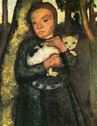 Paula Modersohn- Becker: Mädchen mit Katze im Birkenwald