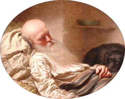 """Bild: Anton Einsle (1801-1871): """"Der letzte Freund"""", 1857, Öl auf Leinwand"""