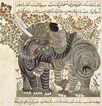 Arabischer Maler um 1295: Buch über die Nützlichkeit der Tiere des Abû Sa'îd 'Ubayd Allâh ibn Bakhtîshû, Szene: Zwei Elefanten, 1294-1299, Papier, 21,3 × 23,5 cm, New York, Piermont Morgan Library.