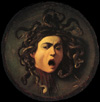 CARAVAGGIO. Medusa, 1598-99. Oil on canvas mounted on wood, 60 x 55 cm. Galleria degli Uffizi, Florence. Linktipp: Tiere in der Kunst