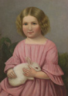 """""""Girl with Rabbit"""" attrib. to Josef Weidner (1801-1870), Oil on Canvas"""